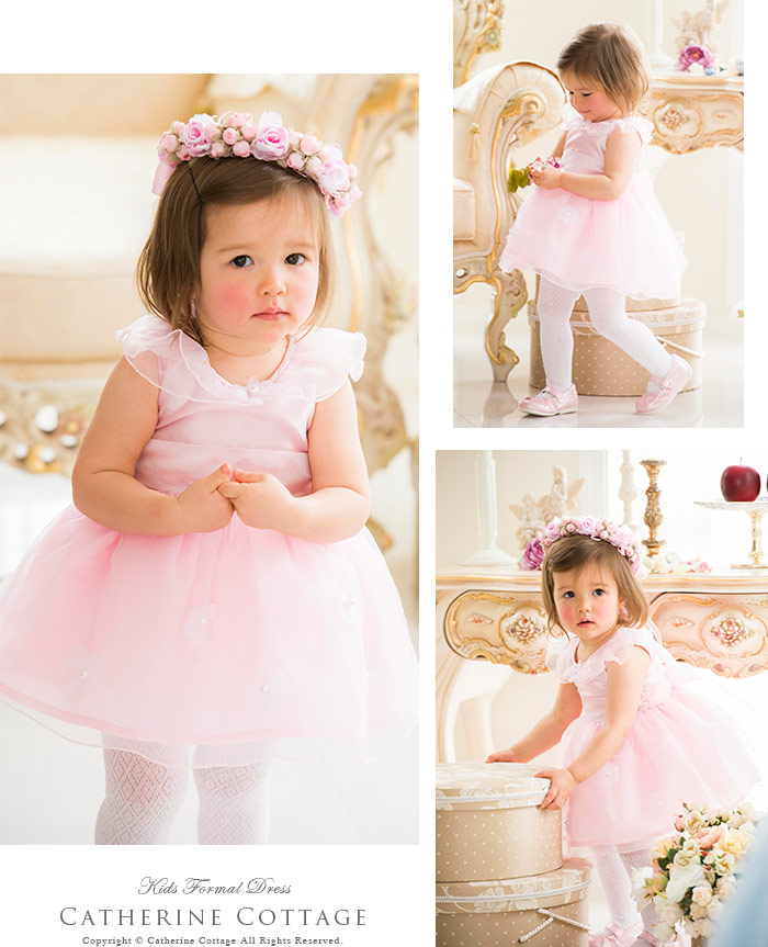 妖精のようなオーガンジーとお花のカラーベビードレス 80~100㎝